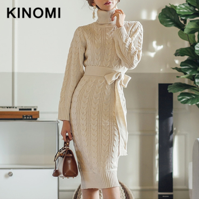 KINOMI Autumn Winter Thick Sweater Dress Belt Women Vintage Knitted Loose Midi Dresses Long Sleeve Turtleneck Knit Dress