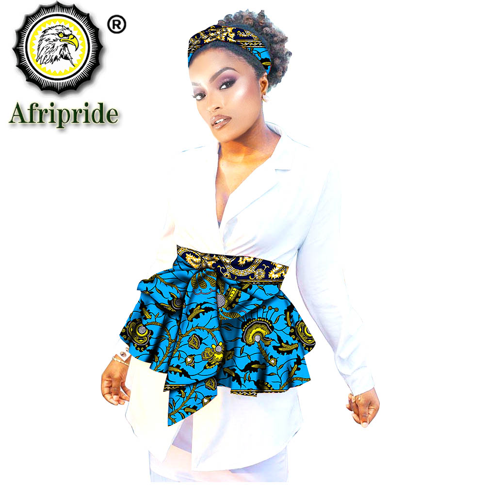 African Headbands and Waist Accessories 2 Piece Set Fashion Ankara Print Cotton Match Print African Skirts Wax Batik S20H006