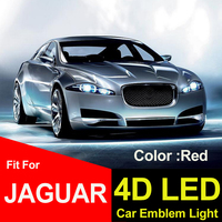 Luz roja de decoración brillante 4D para el maletero del coche, emblema, cubiertas traseras, lámpara, insignia, pegatina abs, 8,5 cm, 7cm, para estilo de coche XJ XJL XF