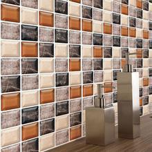 6PCS 3D Mosaic Waterproof Bathroom Kitchen Wall Sticker PVC Wallpaper DIY Self Adhensive Decor Tiles Stickers 20cm*20cm