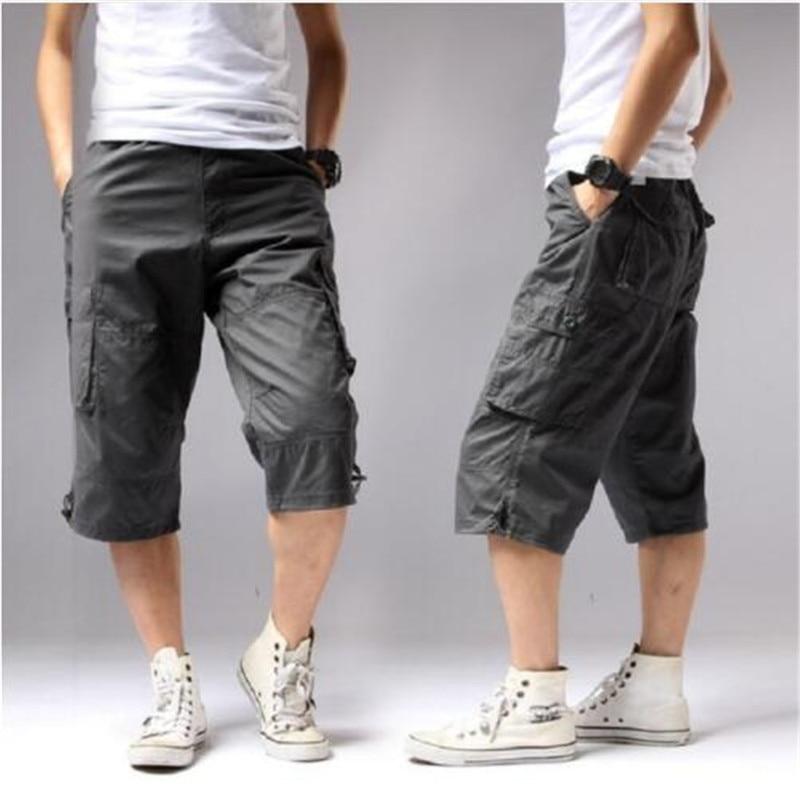 Summer 2018 Long Length Cargo Shorts Men Knee Pocket Casual Cotton Elastic Waist Bermudas Male Military Style Capri Breeche Army