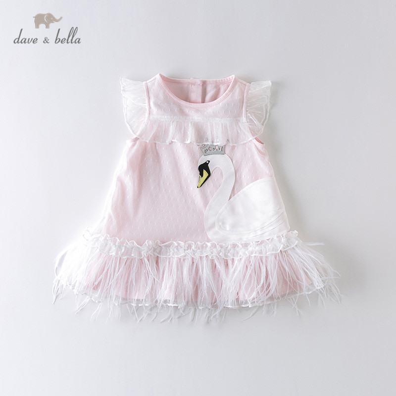 DB13003 Dave Bella Summer Baby Girl's Cute Cartoon Draped Mesh Dress Children Fashion Party Dress Kids Infant Lolita Clothes