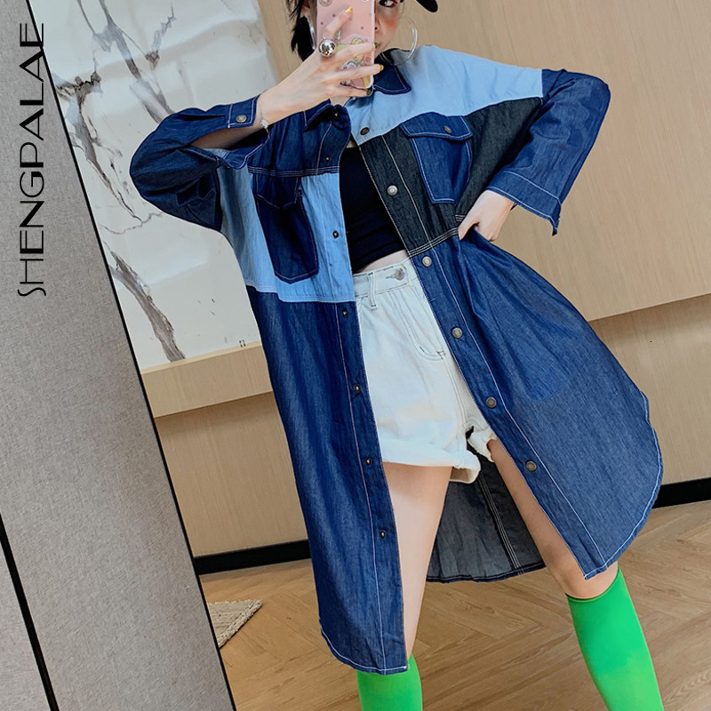 SHENGPALAE Spelling Color Cowboy   Trench   Coat Woman Personality Temperament Long Fund Long Sleeve Shirt Outside Loose Coat FT708
