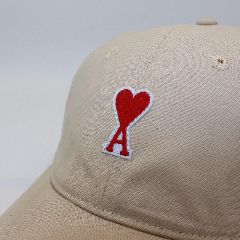 Весенне-летняя однотонная модная универсальная Брезентовая бейсболка с вышивкой в виде надписи love AMI Alex mattiussi