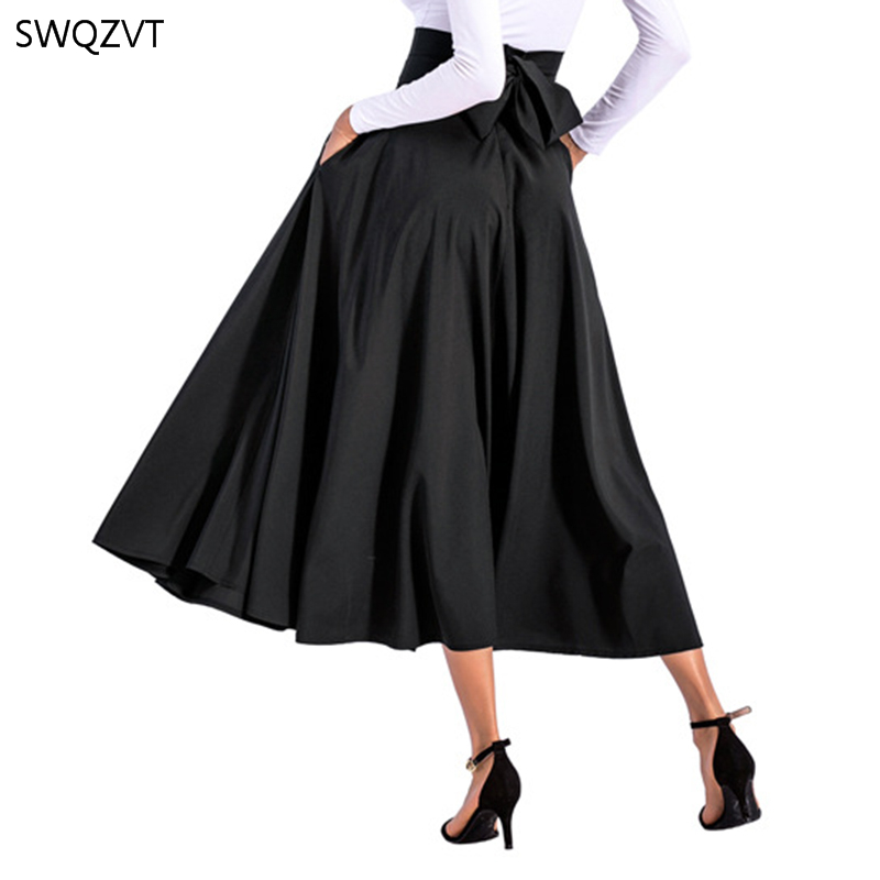 2020 New Fashion Women Long Skirt Casual Spring Summer Skirt womens Elegant Solid Bow-knot A-line Maxi Skirt Women Cothes 4