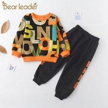 Urso líder meninos roupas de crianças conjuntos 2021 outono manga longa ternos ativos carta impressão roupas do bebê 2 pçs menino conjunto