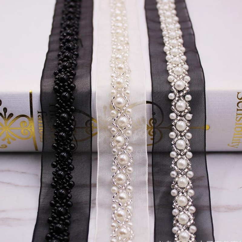 1Yards/Lot White Black Pearl Beaded Lace Ribbon Trim African Fabric Fringe Embroidered Handmade