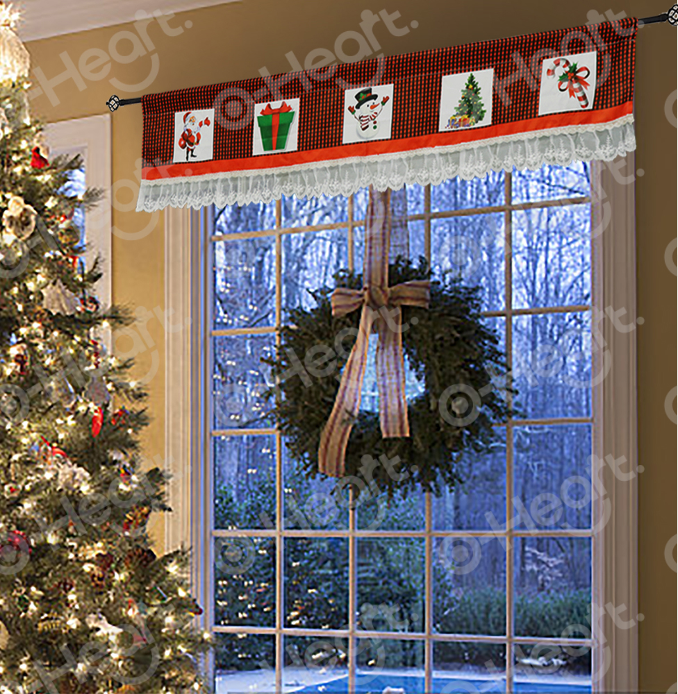 Christmas curtain Valance Lace Window Valances With Red And White Checkered Plaid Christmas Decor For Home Kitchen Living Room in Party DIY Decorations from Home Garden