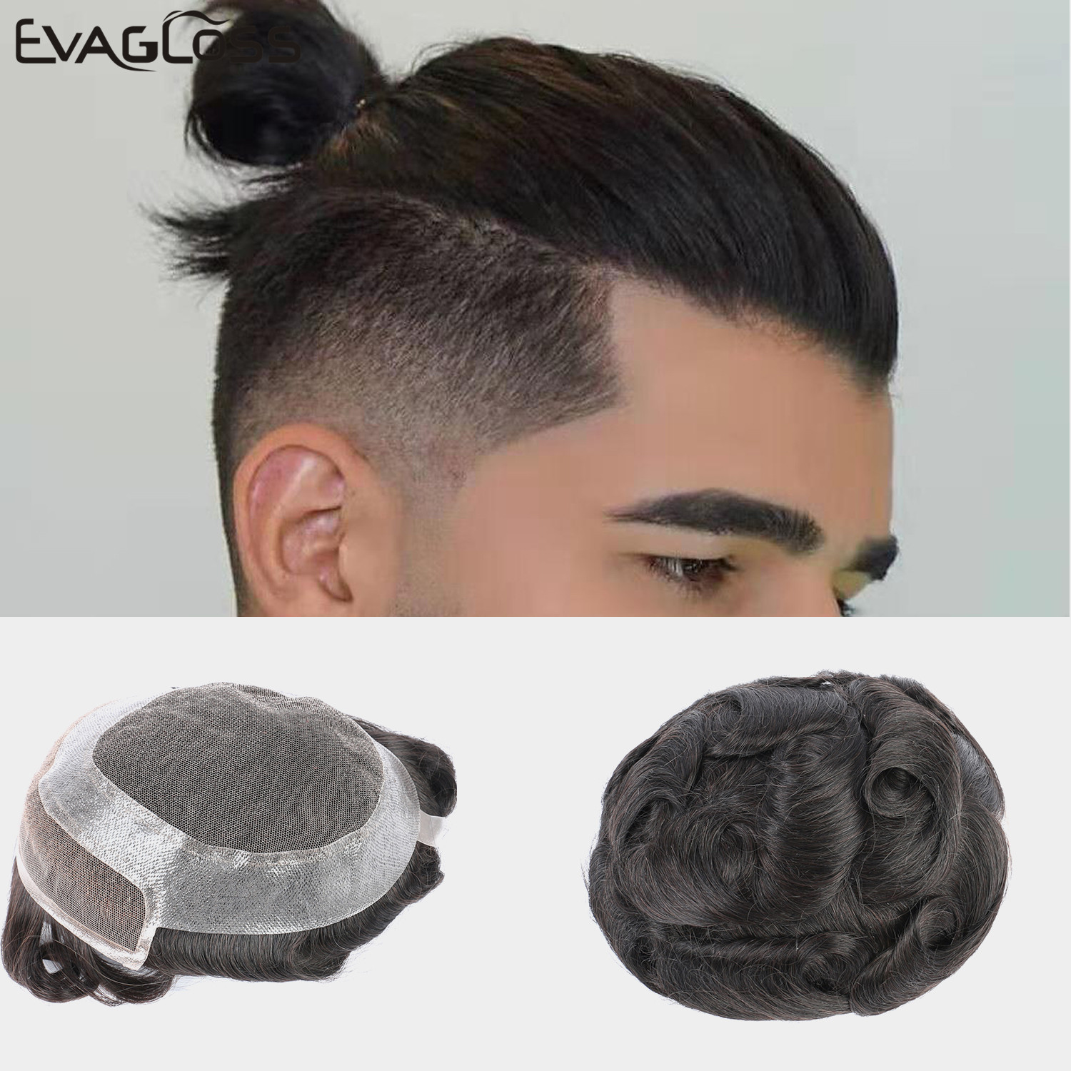 EVAGLOSS Human Hair Men Wig Hollywood Lace Front With Skin Durable Hair Mens Toupee Hair System Replacement Free Shipping
