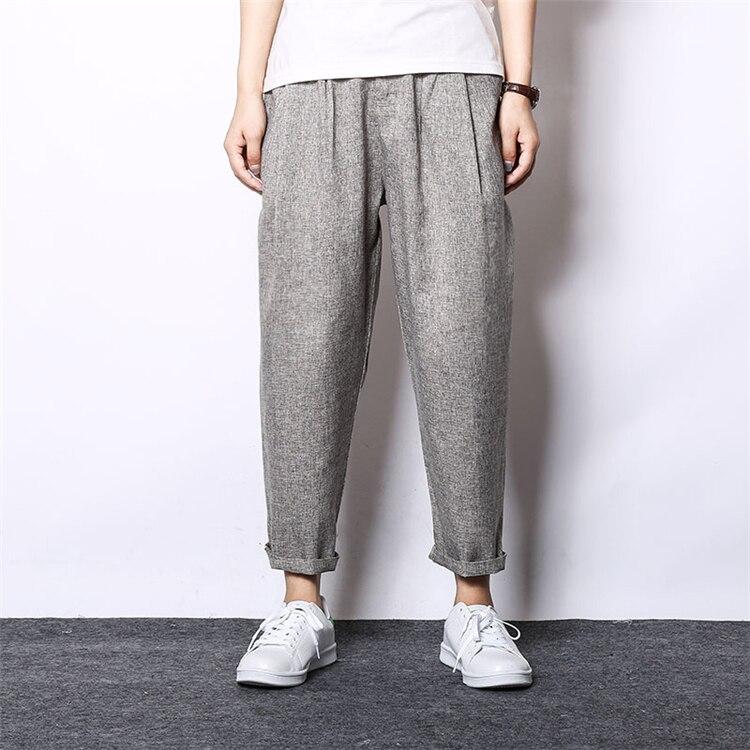 MRMT, брендовые летние новые свободные мужские брюки, льняные повседневные брюки, хлопковые льняные брюки для мужчин, брюки от Harlan - Цвет: Light coffee
