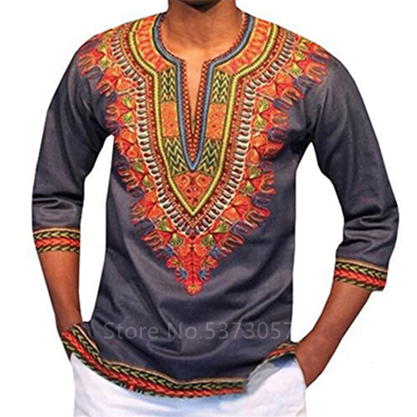 2019 New African Dresses For Men Rich Print Rich Print Bazin Tops Dashiki Ankara Dress Traditional Long Sleeve Clothing S-3XL
