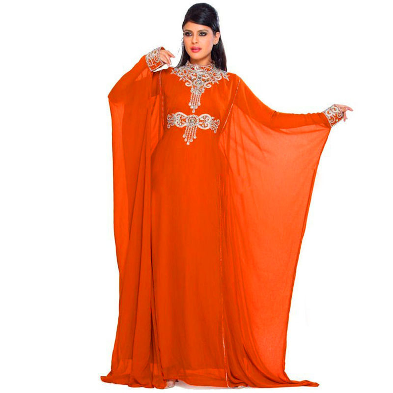 Arabic Evening Gown Long Robe De Soiree Chiffon Dubai Moroccan Kaftan Marocain Party For Muslim Mother Of The Bride Dresses