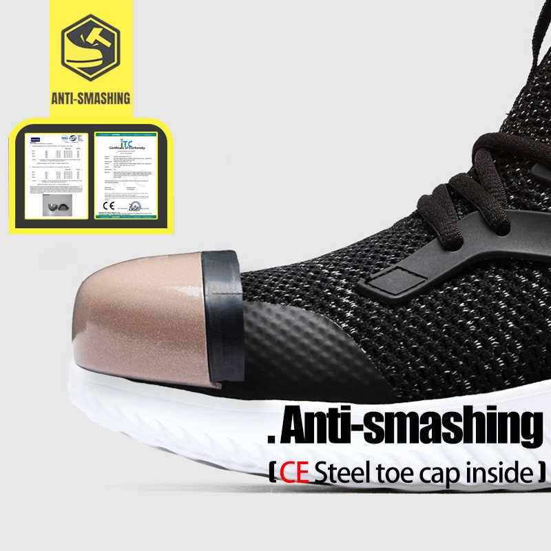 LARNMERN erkek iş ayakkabısı çelik burunlu güvenlik ayakkabıları rahat hafif Anti-Smashing Anti-delinme inşaat Sneaker