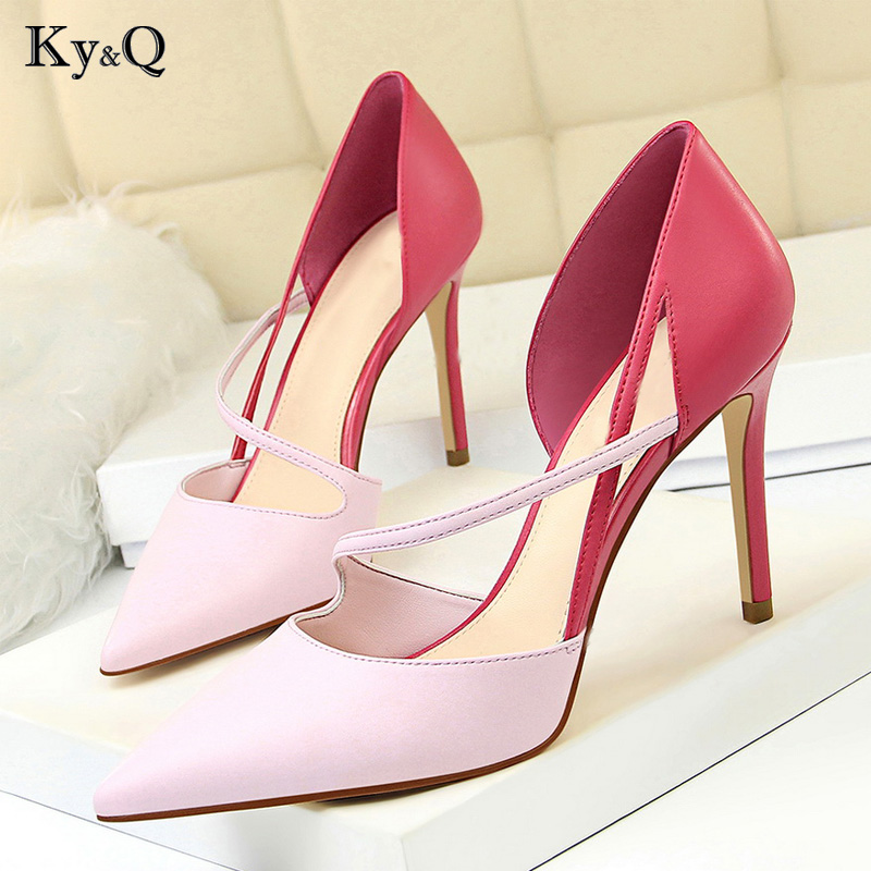 Stiletto Shoes High-Heels Elegant Ladies Pointed Color Fashion New Autumn Hollow Wild