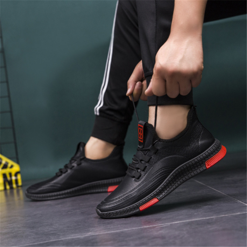 Autumn And Winter Leather Waterproof Versatile Casual Shoes Leather Shoes Men Black Men Soft Face Sports Breathable Tide Shoes