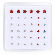 36pcs/set 925 sterling silver nose stud piercing body jewelry CZ nostril ear Earrings Fashion Women men Sexy party gifts New
