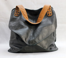 Ladies Leather Shoulder Bag Casual Large Soft Female Capacity Cowhide Contrast Color Crossbody