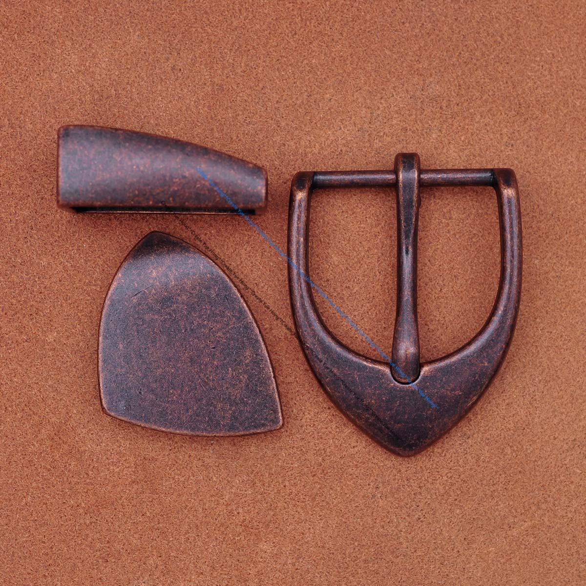 Heavy Sturdy  Western COOL Vintage Copper 3PCS SET Single Prong Pin Quality Leather Belt Buckle Fit 30mm Belt Str