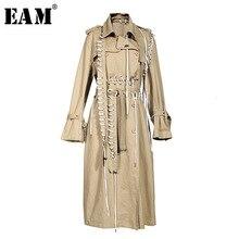 [EAM] Women Kkaki Bandage Long Big Size Trench New Lapel Long Sleeve Loose Fit W