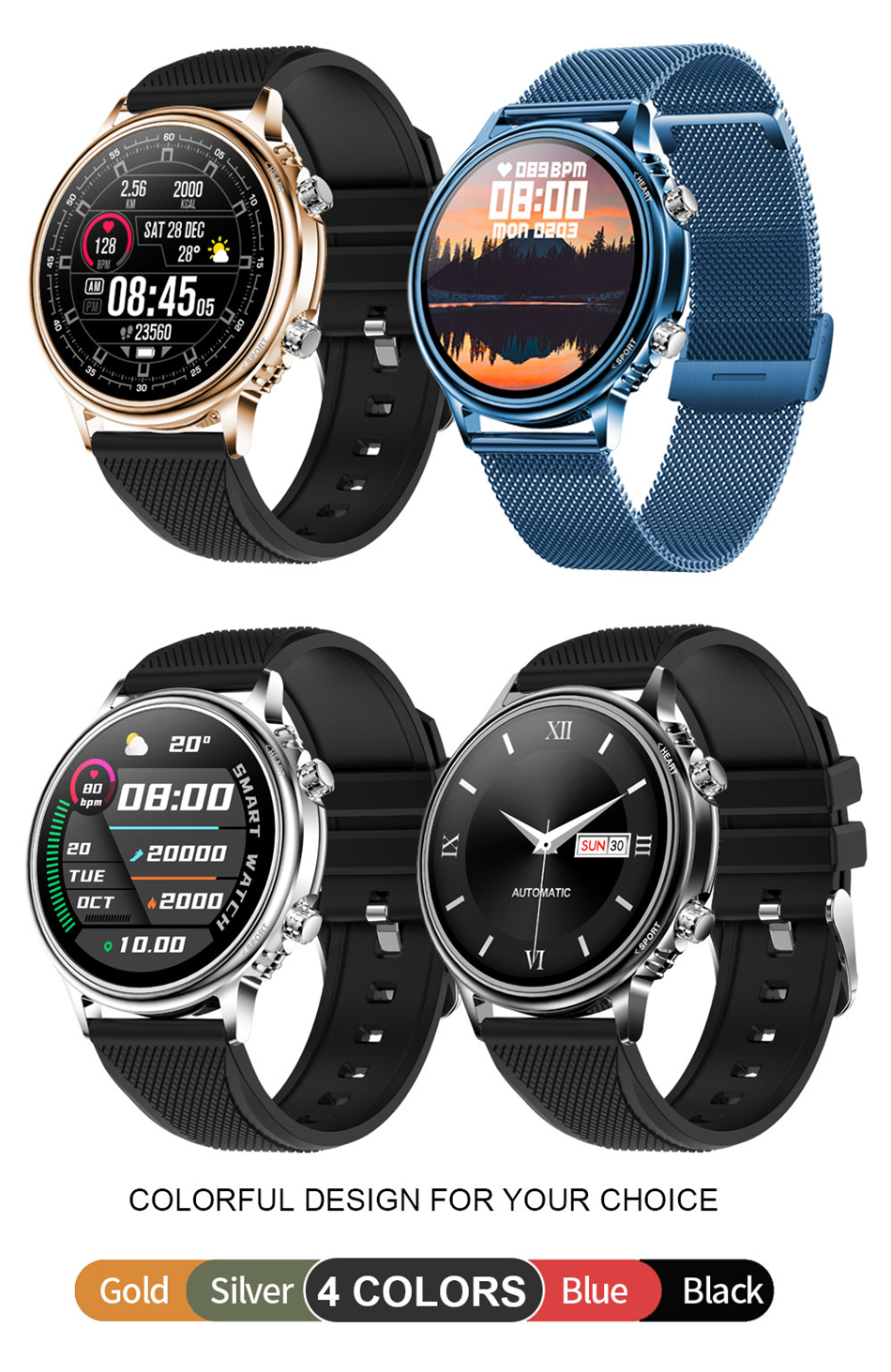 Hbfbb6ec61547475f951585e7370fd6d6M LIGE New Smart Watch Men Custom Dial Full Touch Screen Waterproof Smartwatch For Android IOS Sports Smart watch Fitness Tracker
