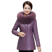 Winter Women Leather Coats Short Sheepskin Jacket Female Fur Collar Thick Slim Plus Size 7XL 8XL Parkas Hooded