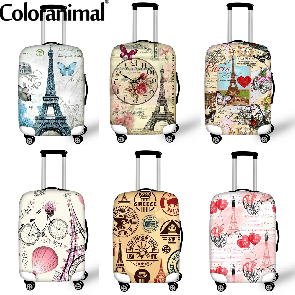 Coloranimal Paris Designs Thick Trolley Luggage Protective Covers Eiffef Tower Pattern Elastic Suitcase Case Cover Walizka