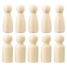 10 шт. 65 мм деревянные незавершенные колышки для кукол маленькие тела Люди Дети DIY Искусство ремесло для украшения дома
