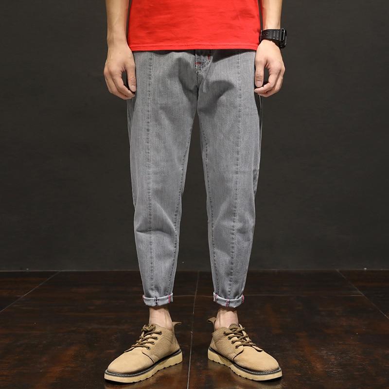 New Style Japanese-style Elasticity Loose-Fit Skinny Capri Jeans Men Fashion Large Size Harem 9 Points Jeans Men'S Wear