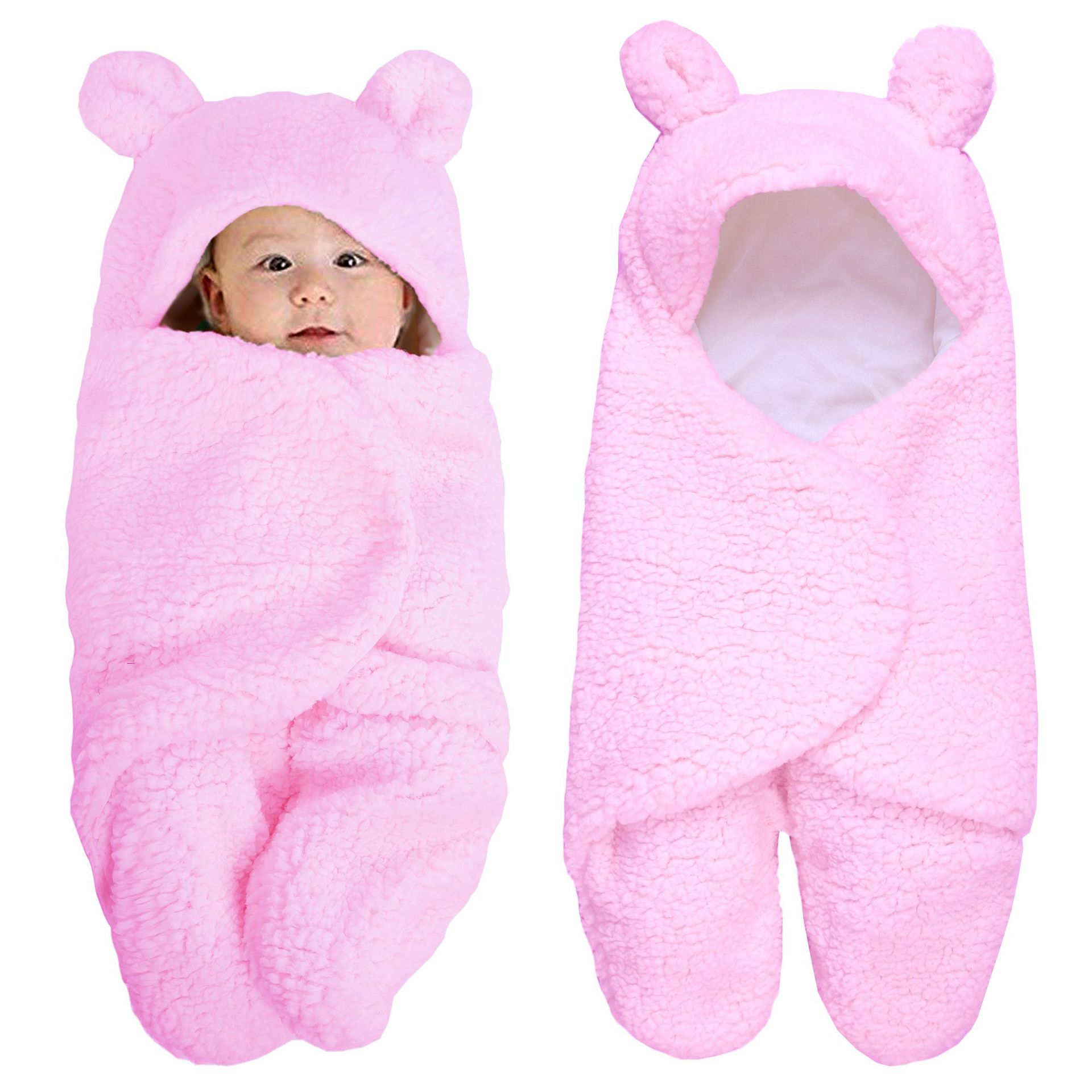 0-6 Months Winter Autumn Baby Sleeping Bag Envelope Newborn Baby Wrap Cute Solid Baby Velvet Cotton Bear Swaddle Blanket