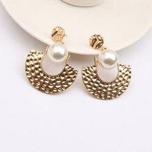 Fashion Geometric Hollow Wings Gold Dangle Earrings for Women Indian Jewelry Pearl Statement Earrings Bisuteria Moda Mujer 2020