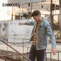 SIMWOOD 2019 automne hiver nouvelle veste en jean hommes coton mode froncé conception streetwear manteau grande taille qualité vestes 190366