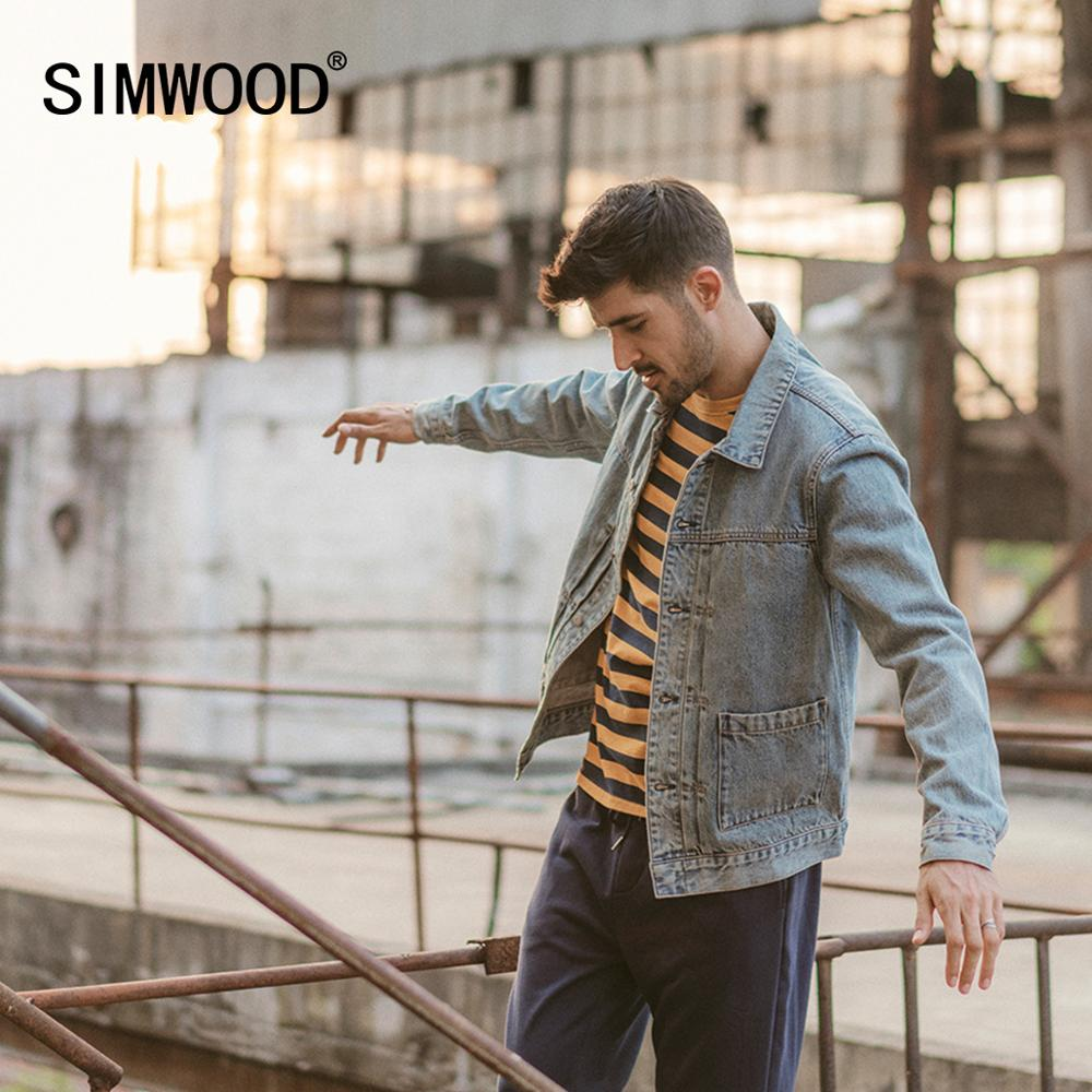 SIMWOOD 2020 Spring Winter New Denim Jacket Men Cotton Fashion Ruched Design Streetwear Coat Plus Size Qualited Jackets 190366