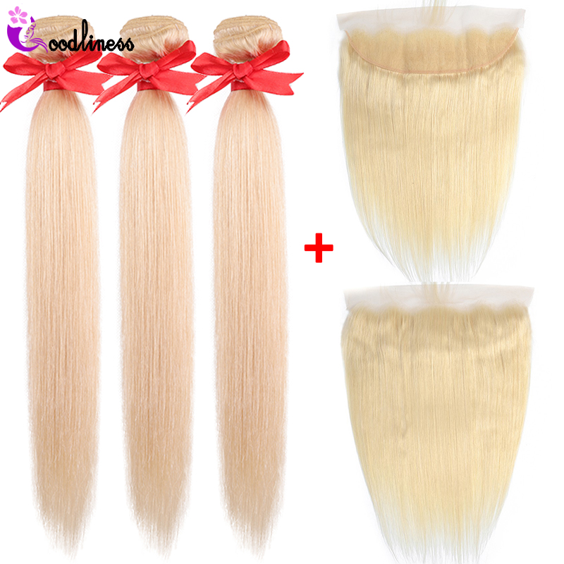 613 Bundles Malaysian Straight Hair With Lace Frontal Closure Baby Hair Remy Honey Blonde Human Hair Weave Bundles With Frontal image