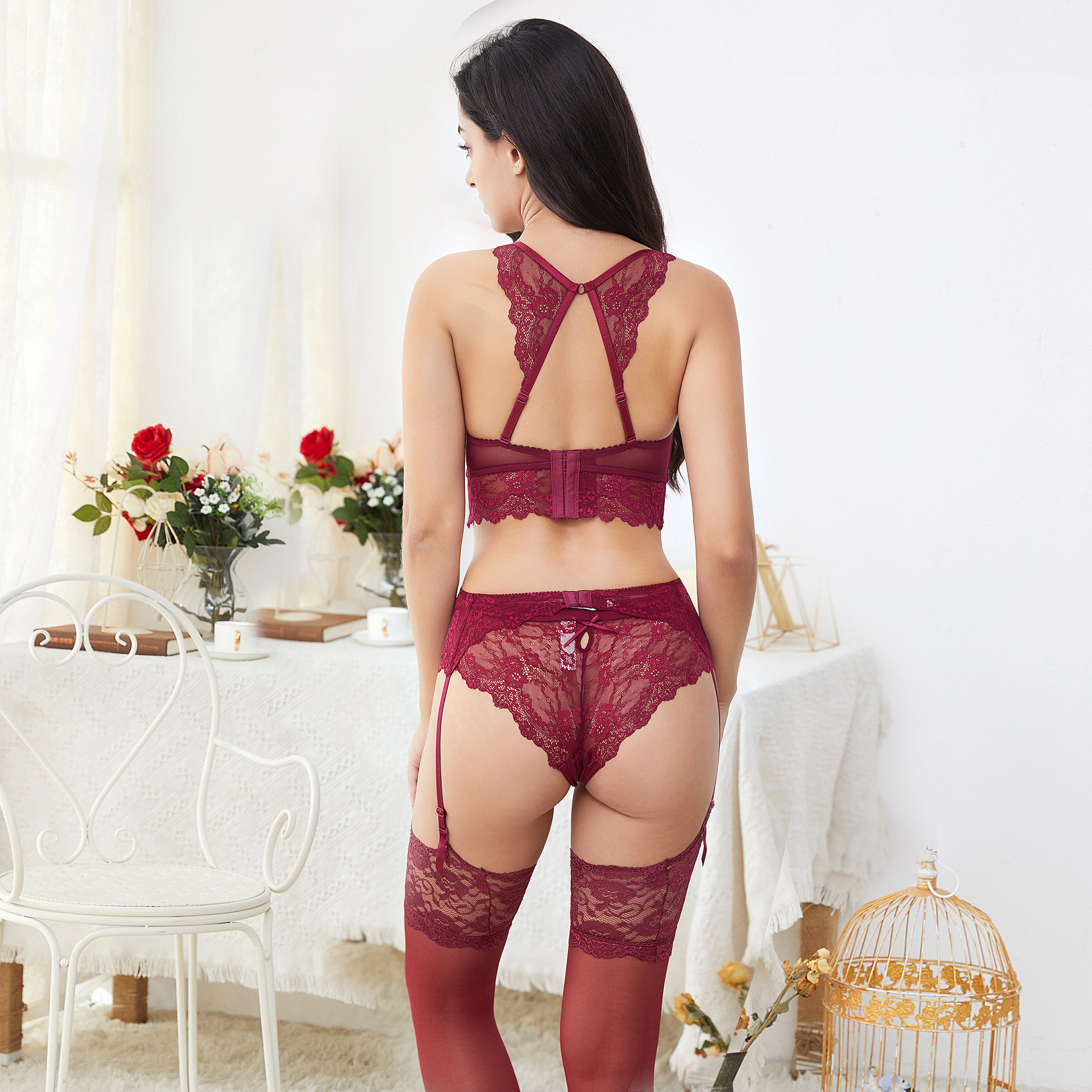 Sexy Lace Underwear Set Robe+Bra+ Panties+ Stockings +Y-line Straps +Thong 7 Piece For Lady