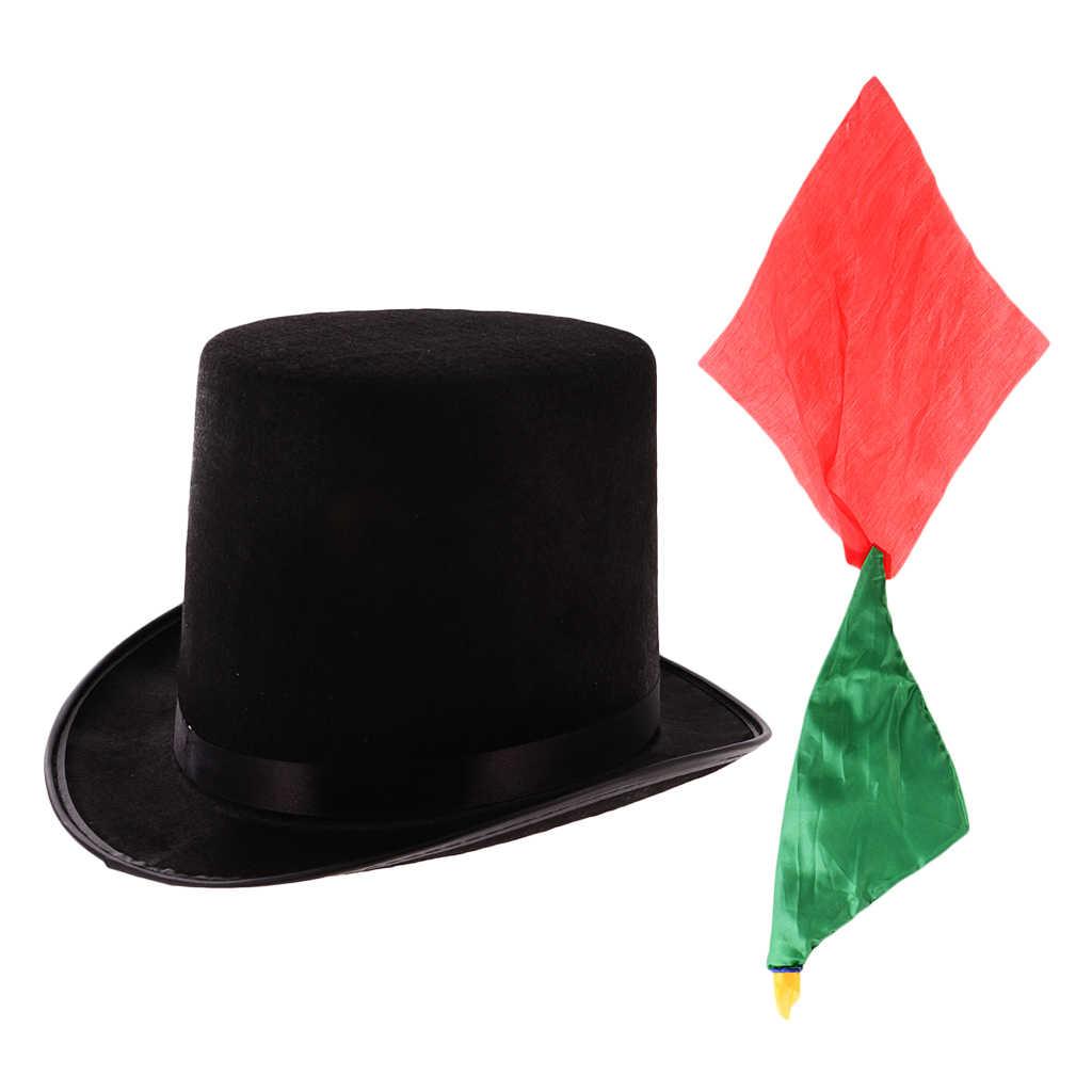 Trucco di Magia mago Performing Prop Cappello di Jazz Nero + Cambiamento di Colore Sciarpa di Seta Close up di Alta Top Cappello Topper Derby cappello a cilindro