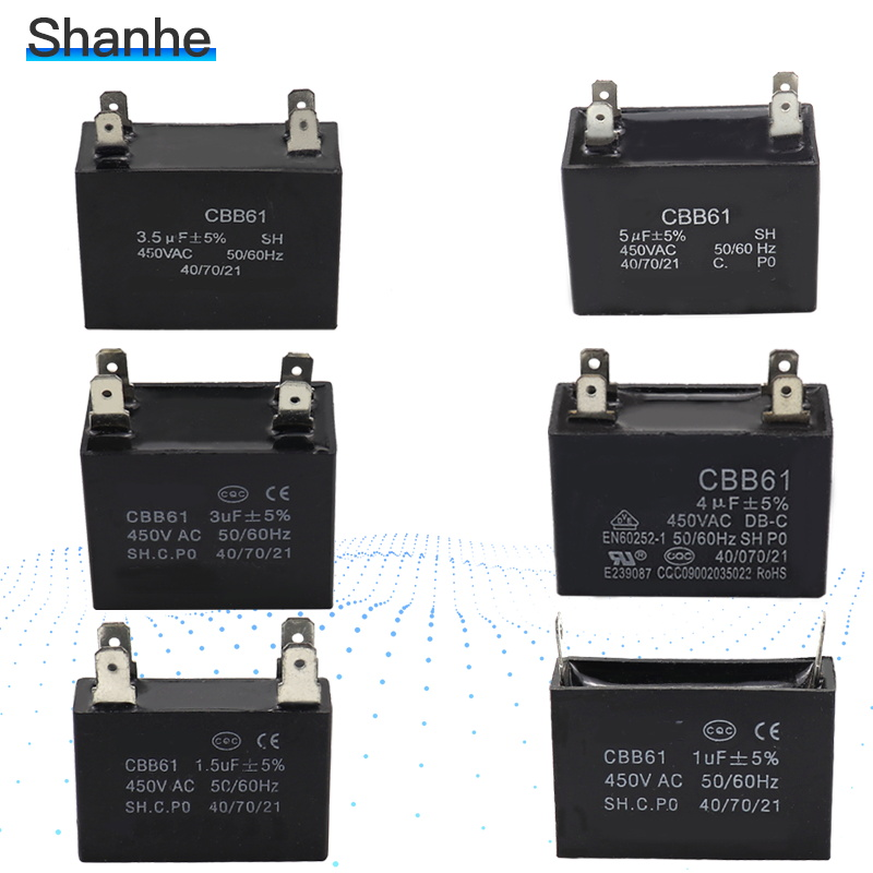 2PCS 500V 3UF CBB61 Ceiling Fan Motor Running Capacitor 2 Wire 50//60 Hz