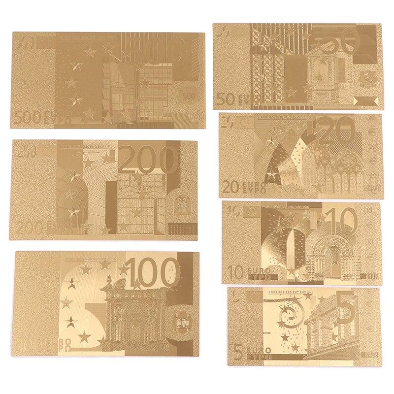 7 adet 5/10/20/50/100/200/500 Euro altın hatıra parası koleksiyon sahte para hatıra dekorasyon