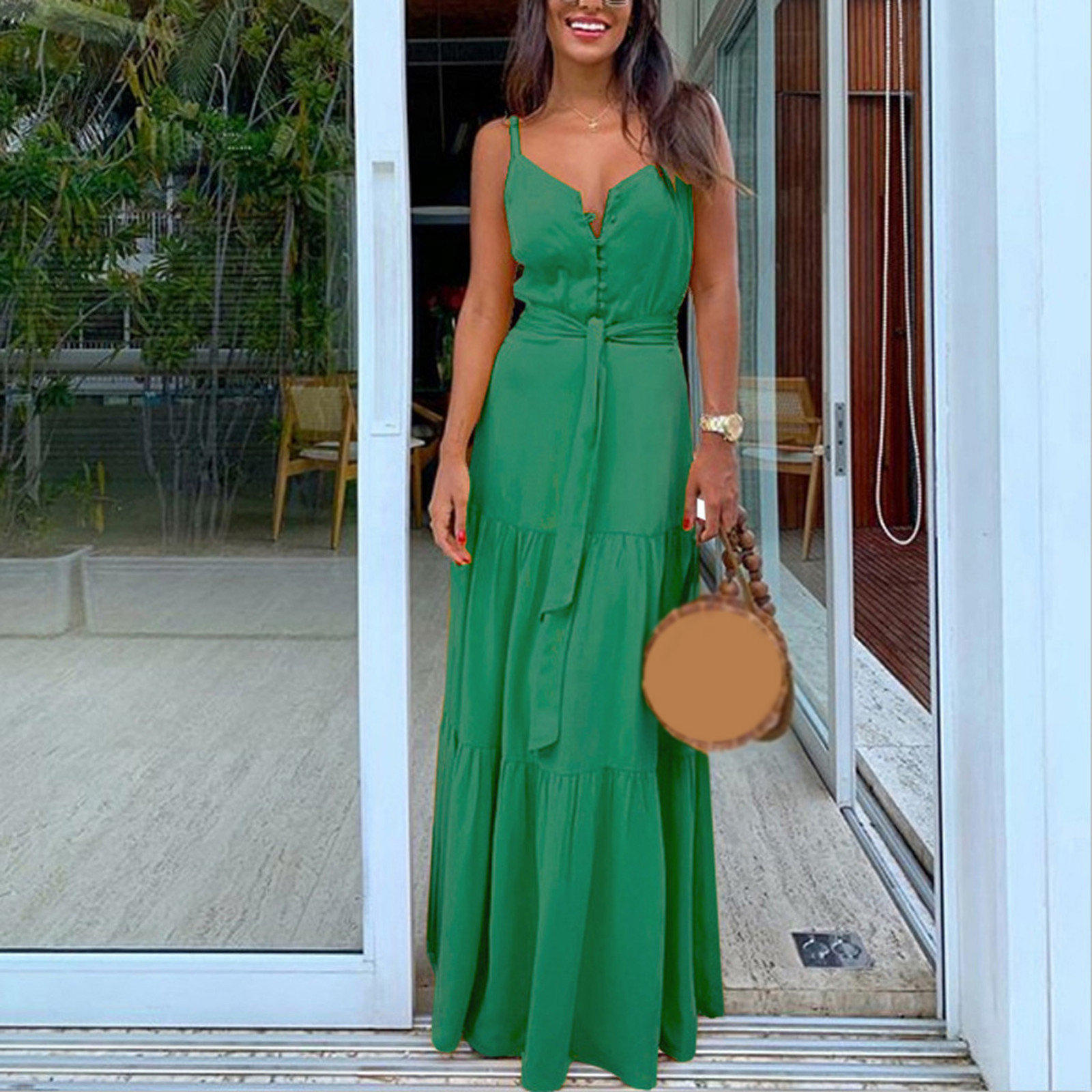 Robe dété pour femmes, Style Boho, sans manches, à bretelles, col en v, à bandes, Robe de plage, pour Les fêtes