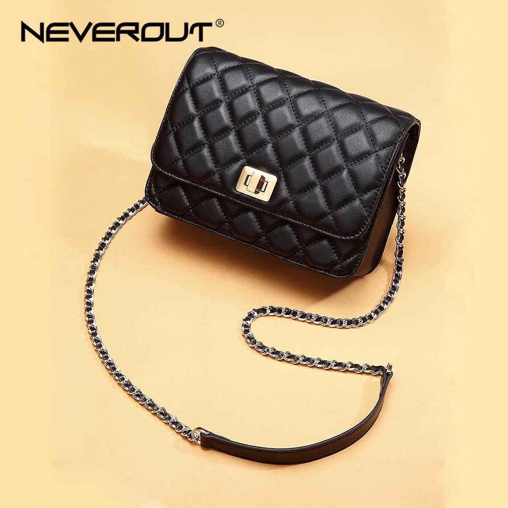 NEVEROUT женская сумка на плечо из натуральной овечьей кожи, сумка через плечо с ромбовидной решеткой, роскошные сумки, женские сумки, стеганая сумка