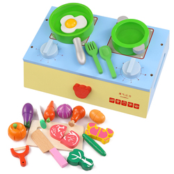 Baby pretend play house toys wooden funny kitchen toy food cooking toys play miniature kitchen set cutting fruit vegetable toys