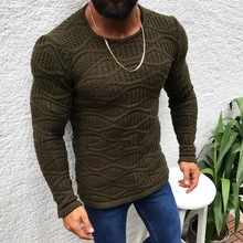 2019 Men Hot Knitted Sweater Casual Autumn Winter Solid Color Round Neck Slim Long-Sleeved Thin Sweater Long Sleeves Pullovers недорго, оригинальная цена