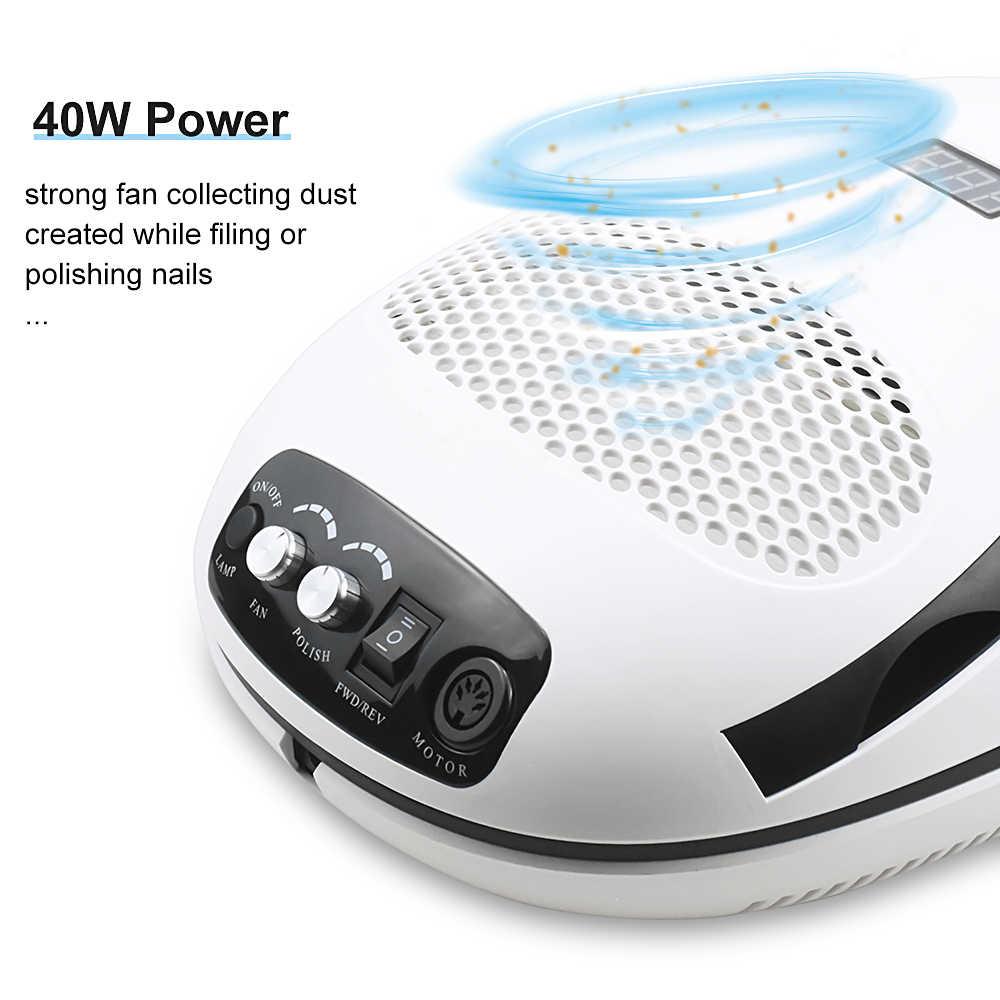 3-IN-1 tırnak toz elektrikli süpürge ve UV lamba ve tırnak matkap manikür makinesi Extractor Fan manikür tırnak aracı toz toplayıcı