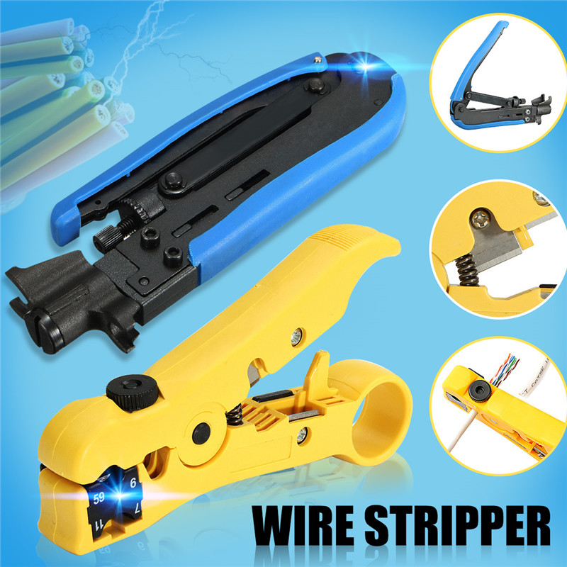 2pcs Compression Wire Crimper Plier Crimping Tool For RG59 RG6 RG11 F Coaxial Connectors Cable Electric Stripping Tools