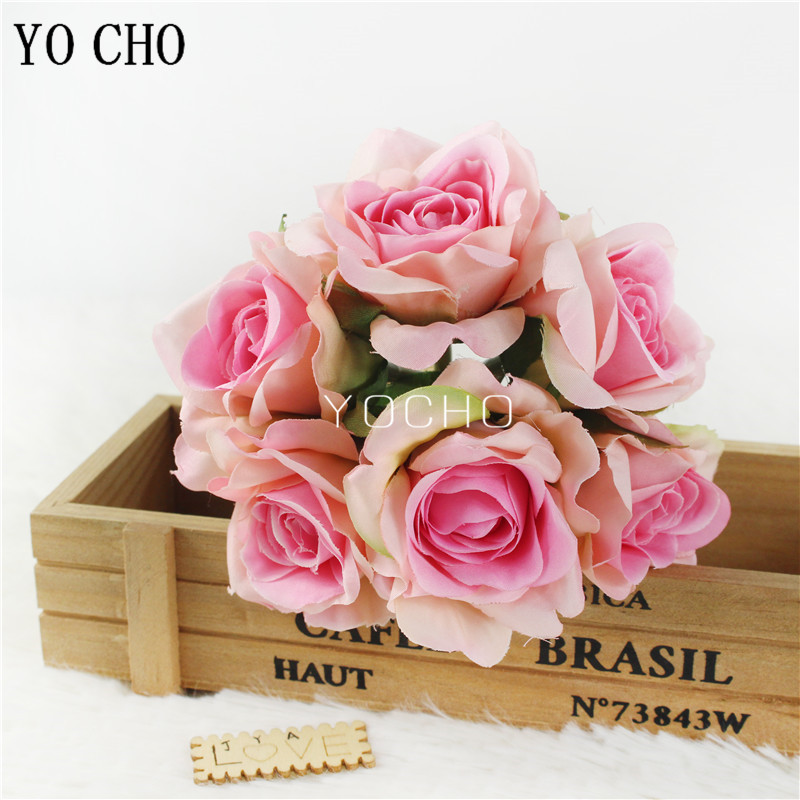 YO CHO Wedding Mini Bouquet Flower Girl 6 Heads Silk Rose Artificial Flower Bouquets Fake Rose Home Party Wedding Table Decor