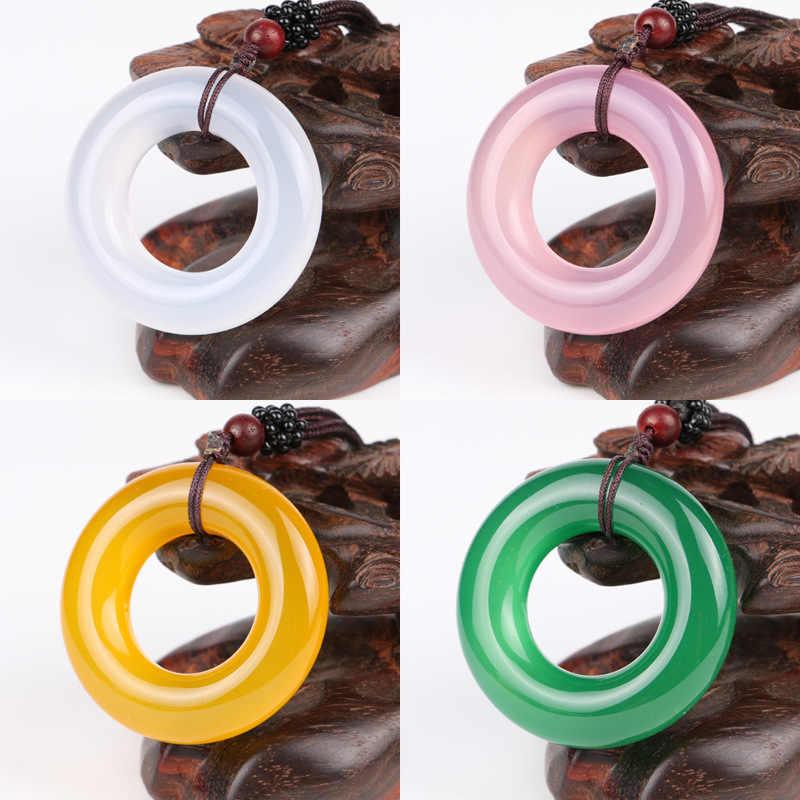 ผู้ผลิตโดยตรงขายธรรมชาติ Chalcedony ความปลอดภัยแหวนจี้ผู้หญิง-หยกสร้อยข้อมือรอบความปลอดภัยหัวเข็มขัด Ci
