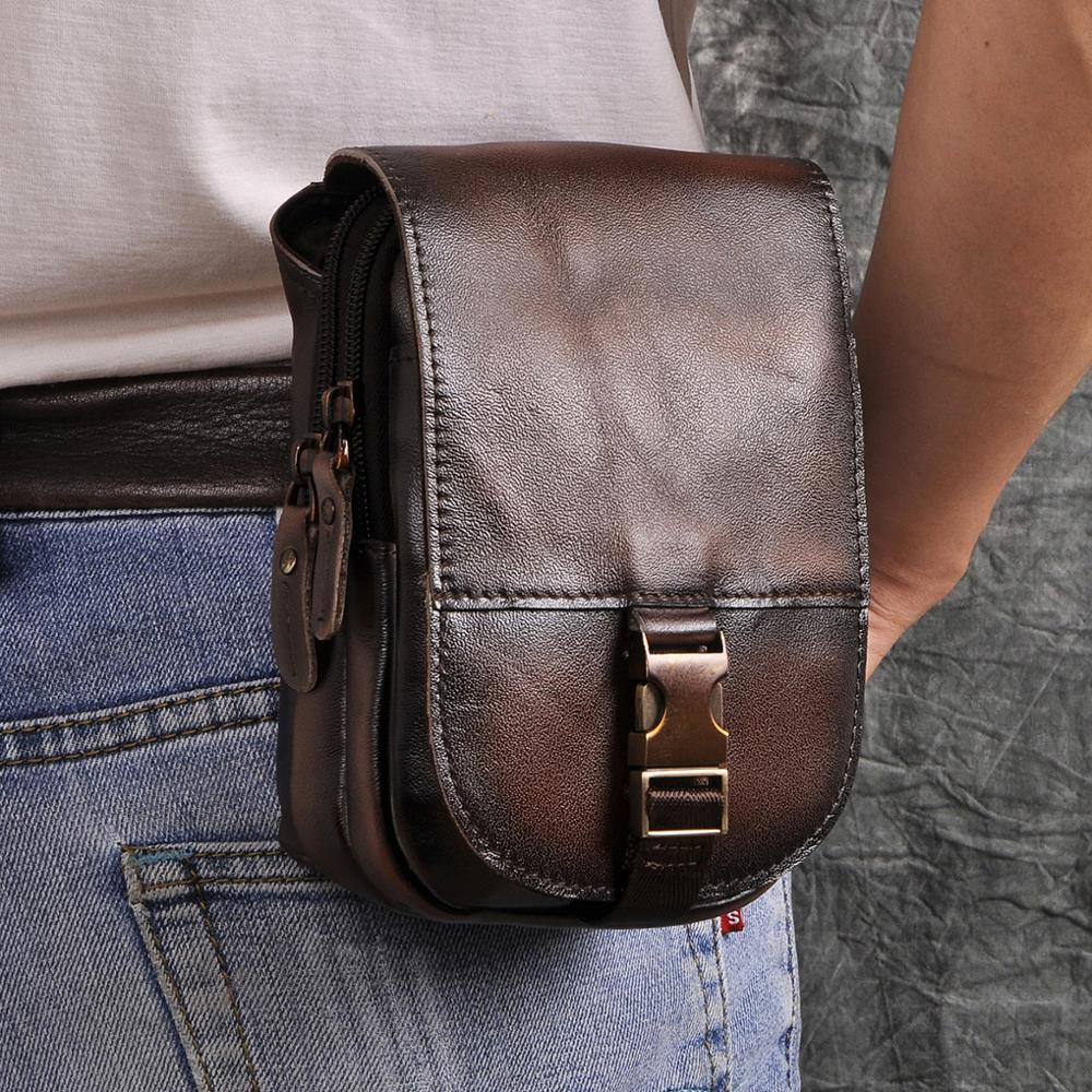 Real Leather Cowhide Retro Men Design Casual Daily Use Small Fanny Waist Belt Bag Hook Pack Fashion 6