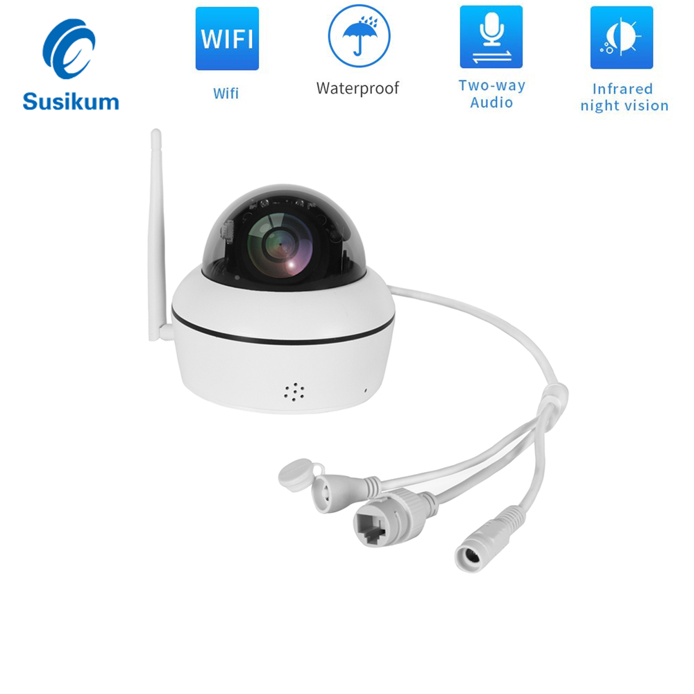 Mini Dome Camera WIFI Outdoor 5MP 3.6mm Lens Built-in SD Card Slot Two Way Audio CAMHI APP Home Security Wireless Camera