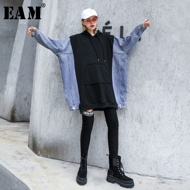 [EAM] Loose Fit Black Denim Split Oversized Sweatshirt New Hooded Long Sleeve Women Big Size Fashion Autumn Winter 2019 1D533