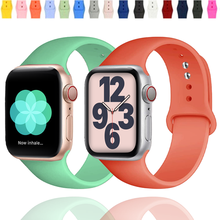 Silicone Strap For Apple Watch Band 44mm 40mm Sport wristband bracelet Belt Correa iwatch for apple watch series 5 6 se 42 38mm