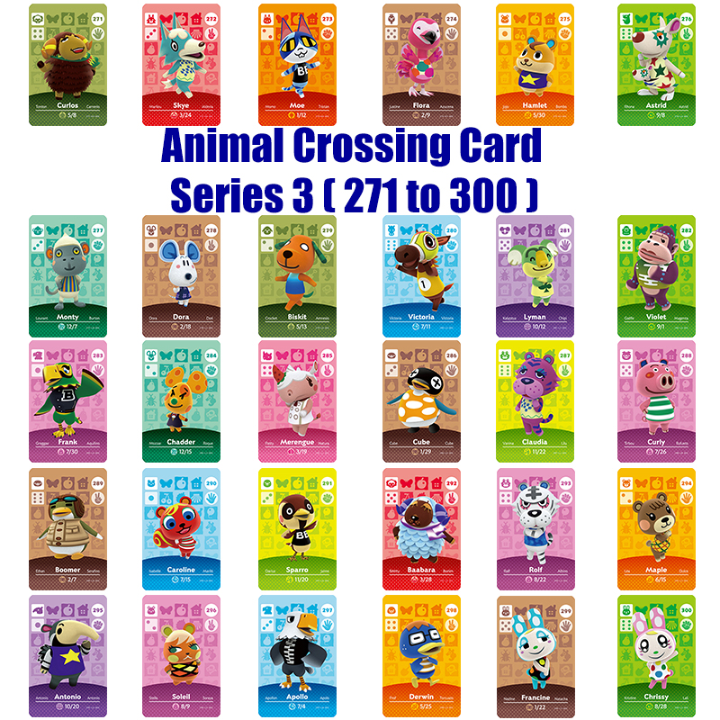 Series 3 (271 to 300) Amiibo Animal Crossing Card Work for NS Games Amibo Switch Rosie Welcome Stickers New Horizons NFC(China)